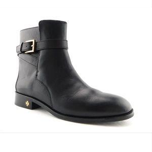 TORY BURCH Black Leather Logo Heel Booties 9.5